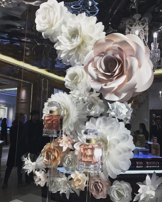 guerlain window display paper flowers