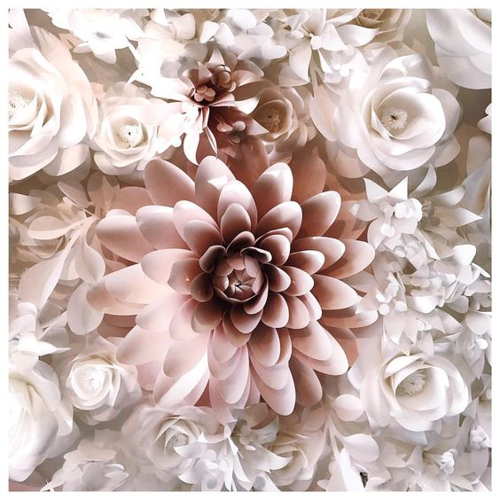 paper flower wall guerlain boutique by mio gallery