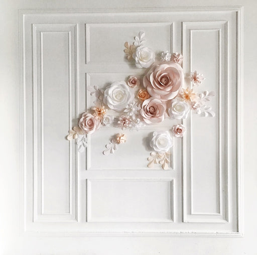 Paper Flower Set - White, Blush and Light Peach Paper Flowers - Mio Gallery