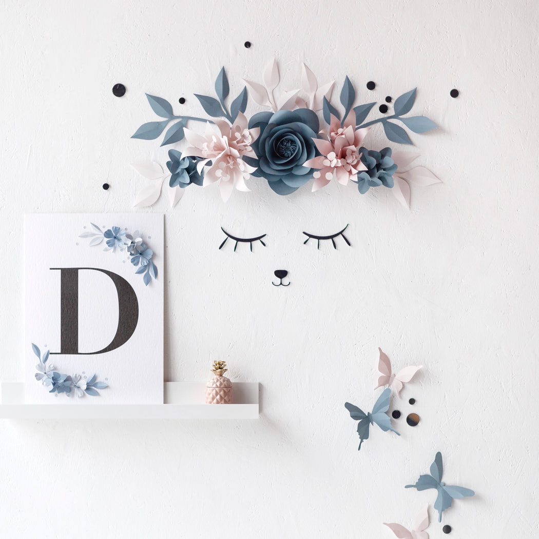 Nursery Wall Decoration - Paper Flowers & Sleepy Eyes for Nursery