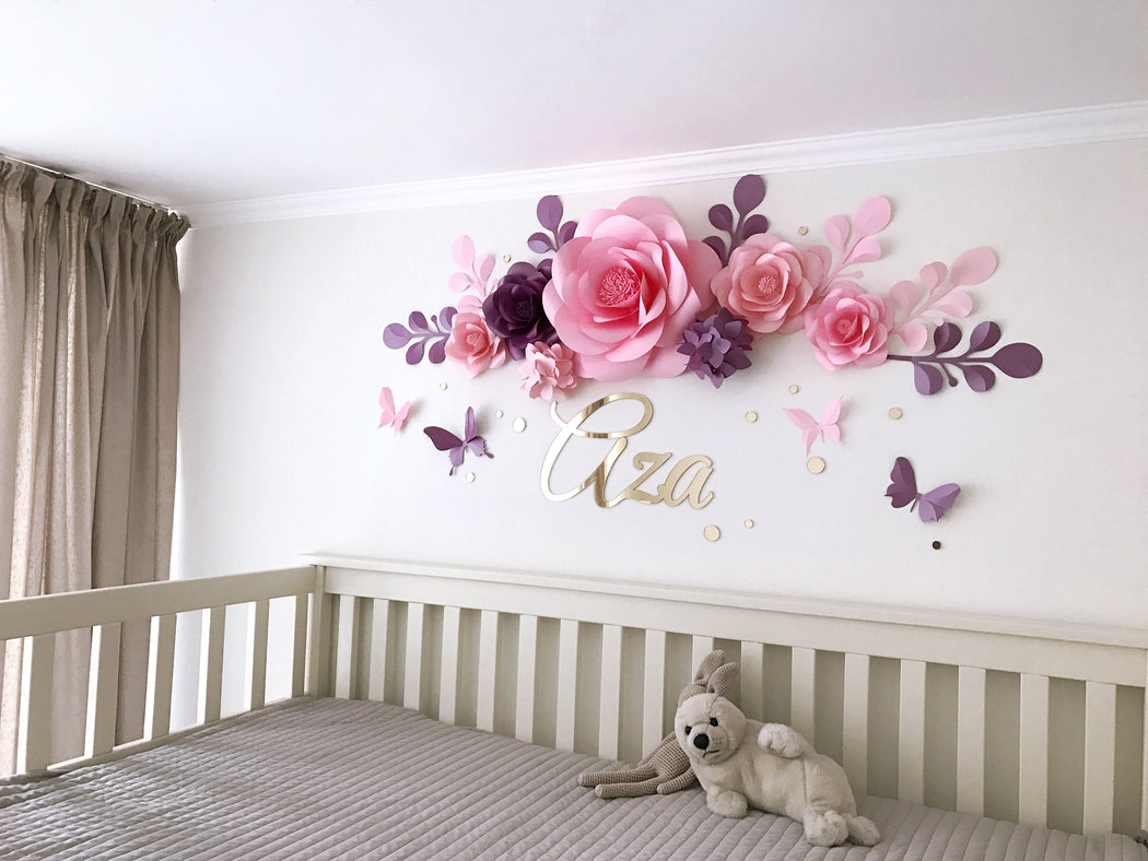 Nursery Paper Flowers - Paper Flowers Arrangement over the Crib