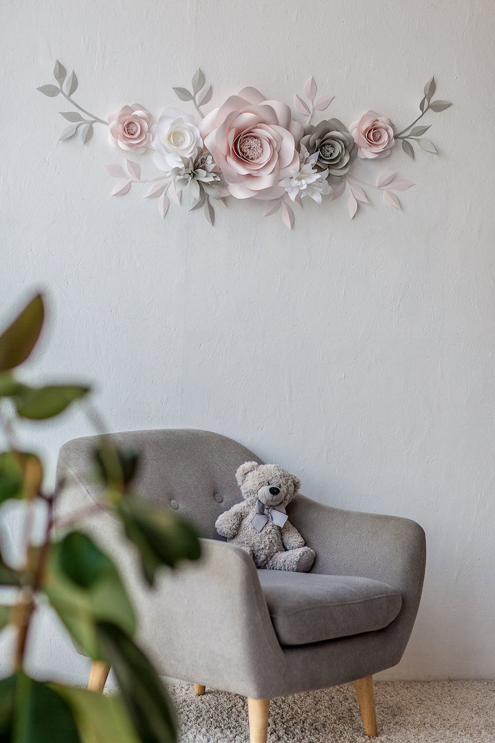 Paper Flower Wall Arrangement - Nursery Wall Decor with Paper Flowers - Mio Gallery