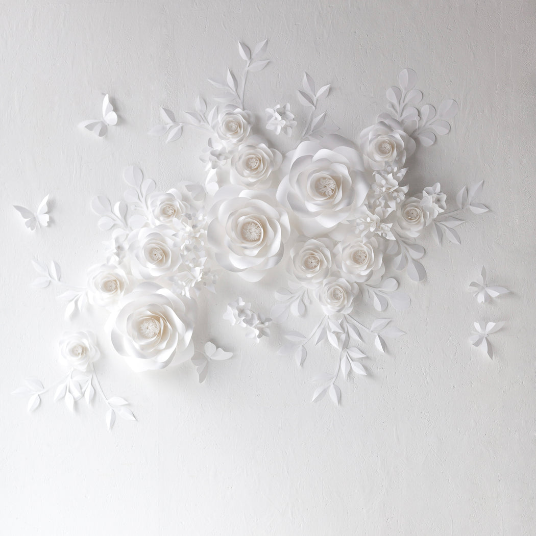 White Paper Flowers Backdrop - White Paper Flower Wall