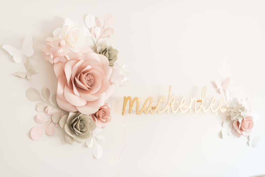 "NURSERY WALL PAPER FLOWERS NURSERY WALL DECOR - ""MACKENLEE"" PAPER FLOWER SET - Mio Gallery"