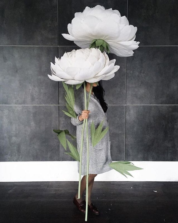 Extra Big Paper Blooms -White Paper Peonies - Mio Gallery