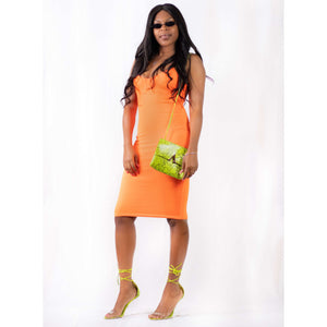 Latest Neon Orange Dress in Bold - DomUnique, LLC