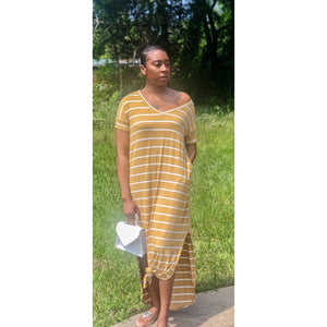 """Chill Vibes"" Maxi Dress (Mustard) - DomUnique, LLC"