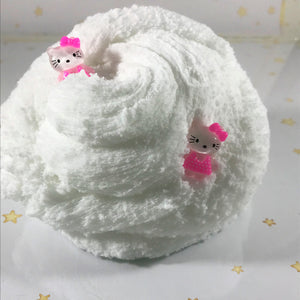 "Cloud Slime ""Kittens on a Cloud"" Scented Snow Fluffy Slime with charms ASMR 4 6 8 or 12 oz Size Slime hand made"