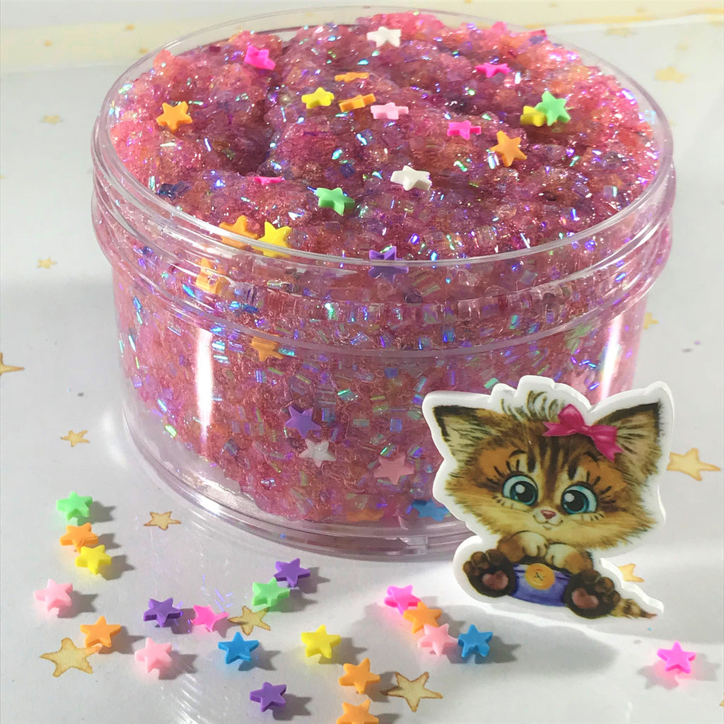 "Bingsu Slime ""Calico Crunch"" SCENTED crystal clear bingsu bead crunchy ASMR 8 oz or 6 oz With Charm"