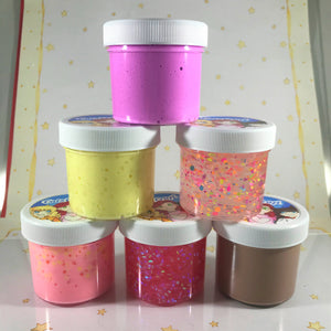 Six Mini Sample Slimes Pack 2oz size Random colors Textures and scents Bingsu, Floam, Fluffy, Slushie, Clear, Frosting, Glossy,