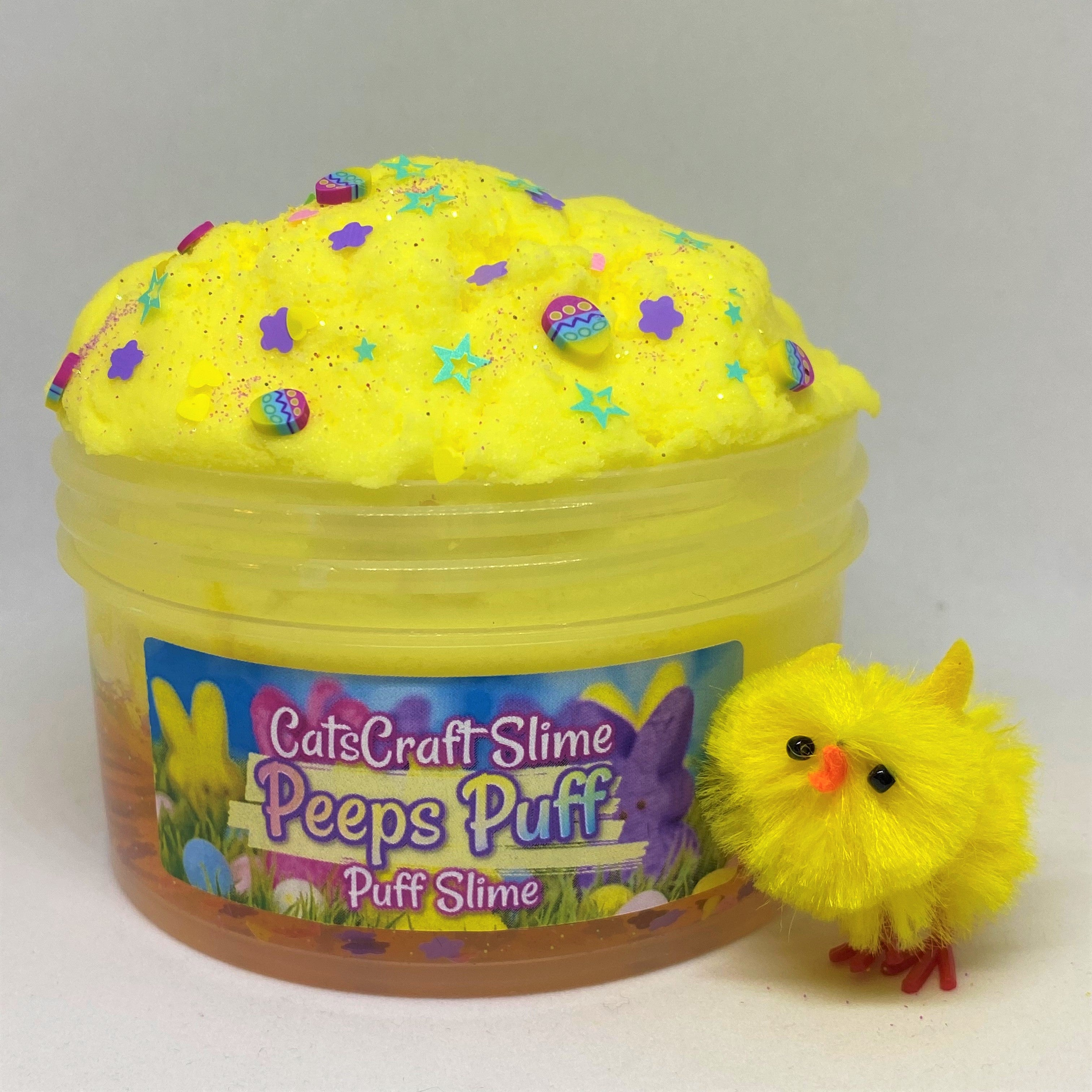 "Puff Slime ""Peeps Puff"" Scented Yellow Clear Slime with charm ASMR 6 8 oz Easter"