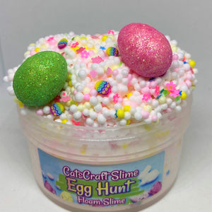 "Full Floam Slime ""Egg Hunt"" SCENTED crunchy 6 8 12 oz With foam beads & egg charm Easter"