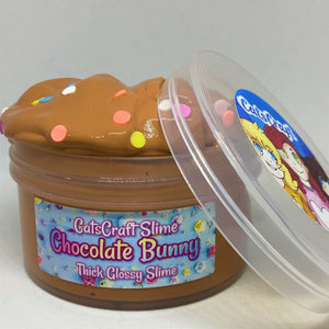 "Thick Glossy Brown Slime ""Chocolate Bunny"" SCENTED ASMR 4 6 8 12 oz Easter"