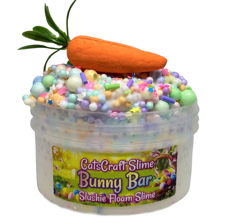 "White glue Slushie Slime ""Bunny Bar"" SCENTED crunchy ASMR 8 oz or 6 oz With Charm rainbow slushee slime Easter"