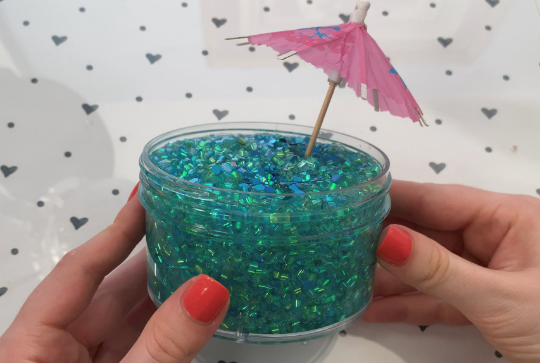 "Bingsu Slime ""Persian Paradise"" SCENTED blue / green crystal clear bingsu bead crunchy ASMR 8 oz or 6 oz With Umbrella slimes"