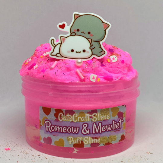 "Puff Slime ""Romeow & Mewliet"" Scented Pink Clear Slime Charm 6 or 8 oz"