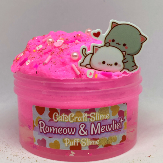 "Puff Slime ""Romeow & Mewliet"" Scented Pink Clear Cloud Slime Charm 6 or 8 oz"