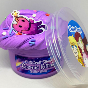 "Butter Slime ""Cosmic Kitten"" Purple Sprinkles Scented with Charm Inflating Soft ASMR 4 6 8 12 oz"