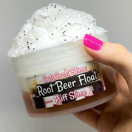 "Puff Slime ""Root Beer Float"" Scented Soda Clear Cloud Slime ASMR 8oz or 6 oz"