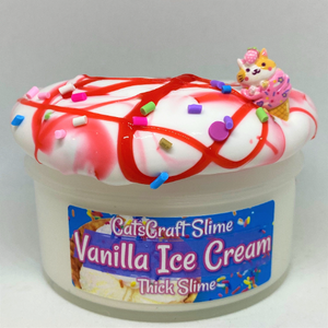 "Thick Glossy Slime ""Vanilla Ice Cream"" Charm SCENTED Sprinkles Red Syrup Cereal Milk ASMR 6 8 12 oz"
