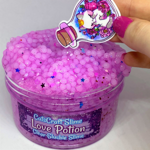 "Slushie Slime ""Love Potion"" SCENTED Clear Slushee Bead Crunchy Charm 4 6 or 8 oz"