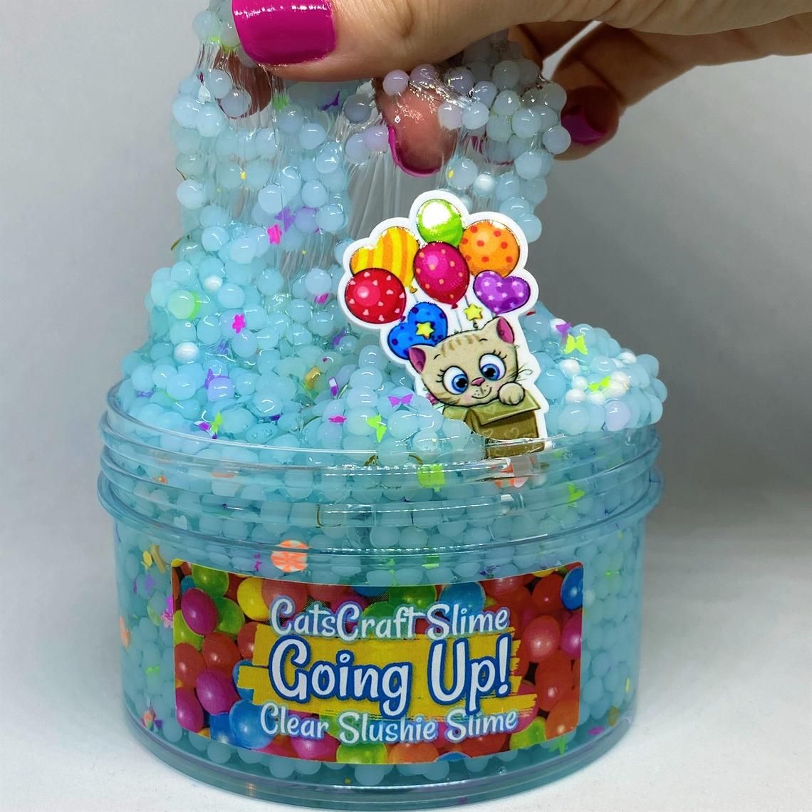 "Slushie Slime ""Going Up! "" SCENTED Clear slushee slime bead crunchy ASMR 4 6 8 oz With Charm"