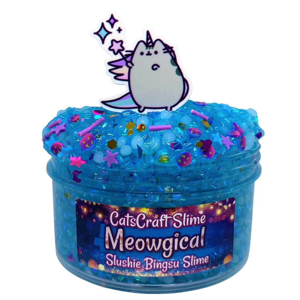 "Bingsu Slushie Slime ""Meowgical"" SCENTED blue crystal clear bingsu and slushee bead crunchy ASMR 8 oz or 6 oz With Charm"