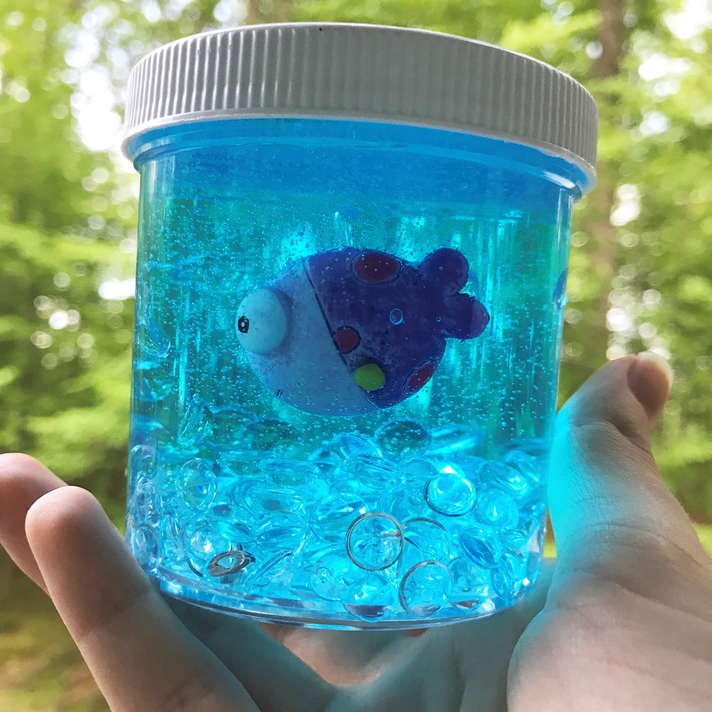 "Stretchy Clear ""Fish Tank"" Fishbowl Slime ASMR 6 oz or 8 oz best slime durable containers Blue with random color Fish Charm / Charms"