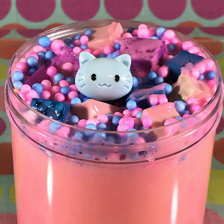 "Thick Slime ""Kitty Kingdom"" SCENTED Foam Chunks ASMR 8 oz 6 oz or 4 oz Charm"