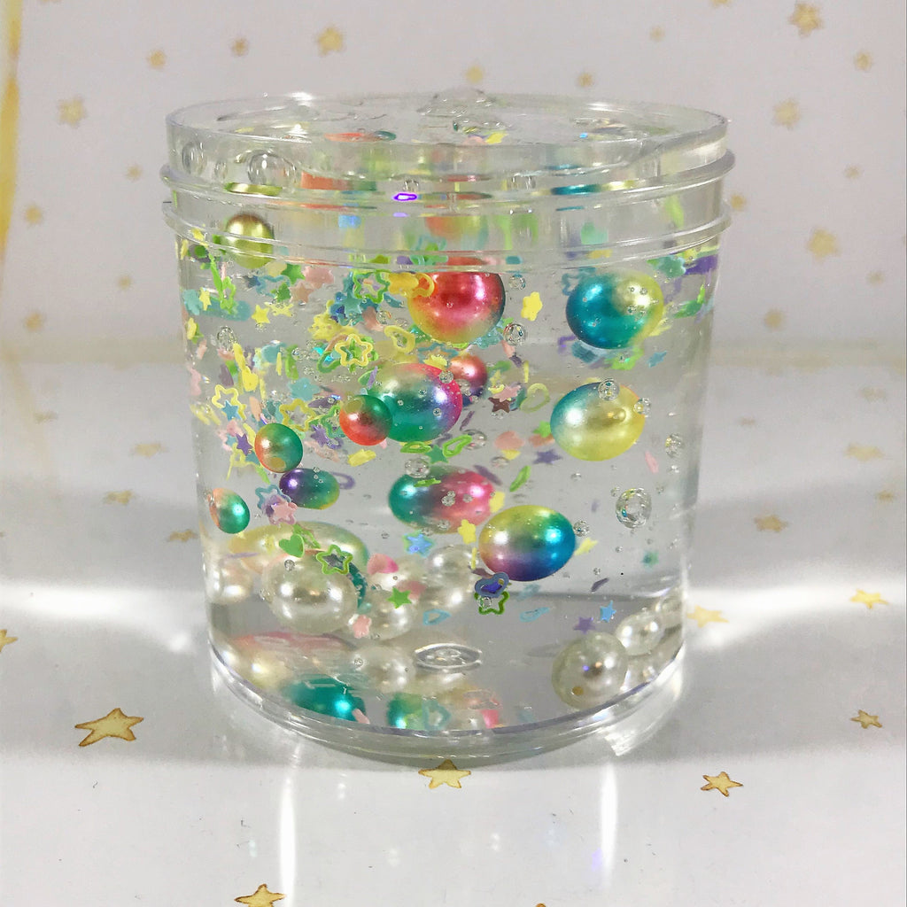 "SCENTED Stretchy Clear ""FantaSea"" Slime ASMR 6 or 8 oz best slime durable containers glitter confetti with random beads"