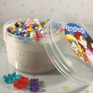 "White glue Slushie Slime ""Carnival Krispies"" SCENTED crunchy ASMR 8 oz or 6 oz With Charm rainbow slushee slime durable containers"