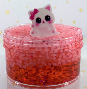 "Slushie Slime "" Red Raspurry Slushee "" SCENTED red crystal clear slushee slime bead crunchy ASMR 8 oz or 6 oz With Charm slimes"