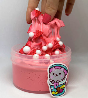 "Thick Glossy Slime ""Strawberry Cat"" SCENTED Foam Chunks and beads ASMR 8 oz 6 oz or 4 oz With Charm best slime durable containers"