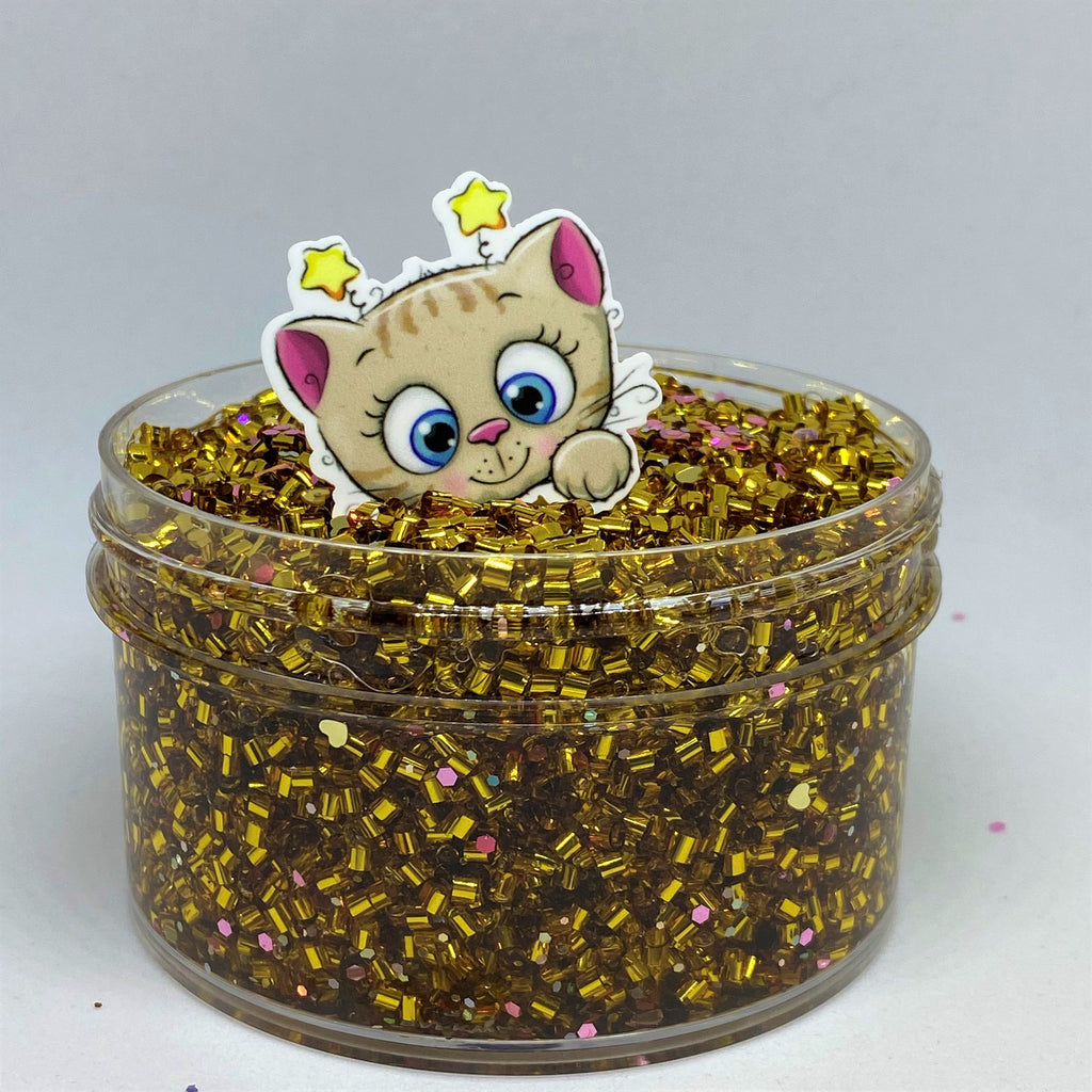 "Bingsu Slime ""Furtunate"" SCENTED GOLD crystal clear bingsu bead crunchy ASMR 8 oz or 6 oz With Charm"
