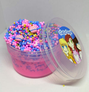"Full Floam Slime ""Cupcake Crunch"" SCENTED crunchy ASMR 4 8 6 or 12 oz  foam beads slime with 2 Cupcake Fimo Charms"