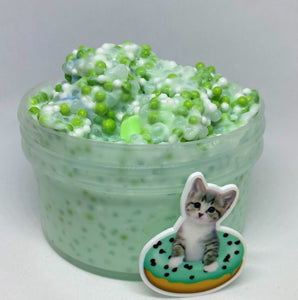 "Full Slushee & Floam Slime ""Cattitude"" SCENTED crunchy ASMR 8 oz or 6 oz green foam beads slushie slime with charm"