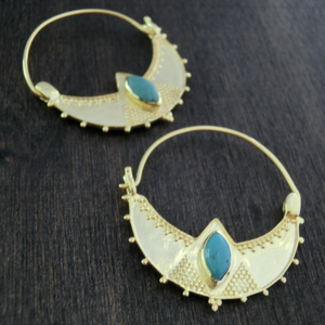 Turquoise Brass Earrings⎜CRESCENT