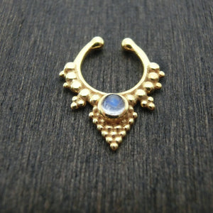 gold fake septum with moonstone