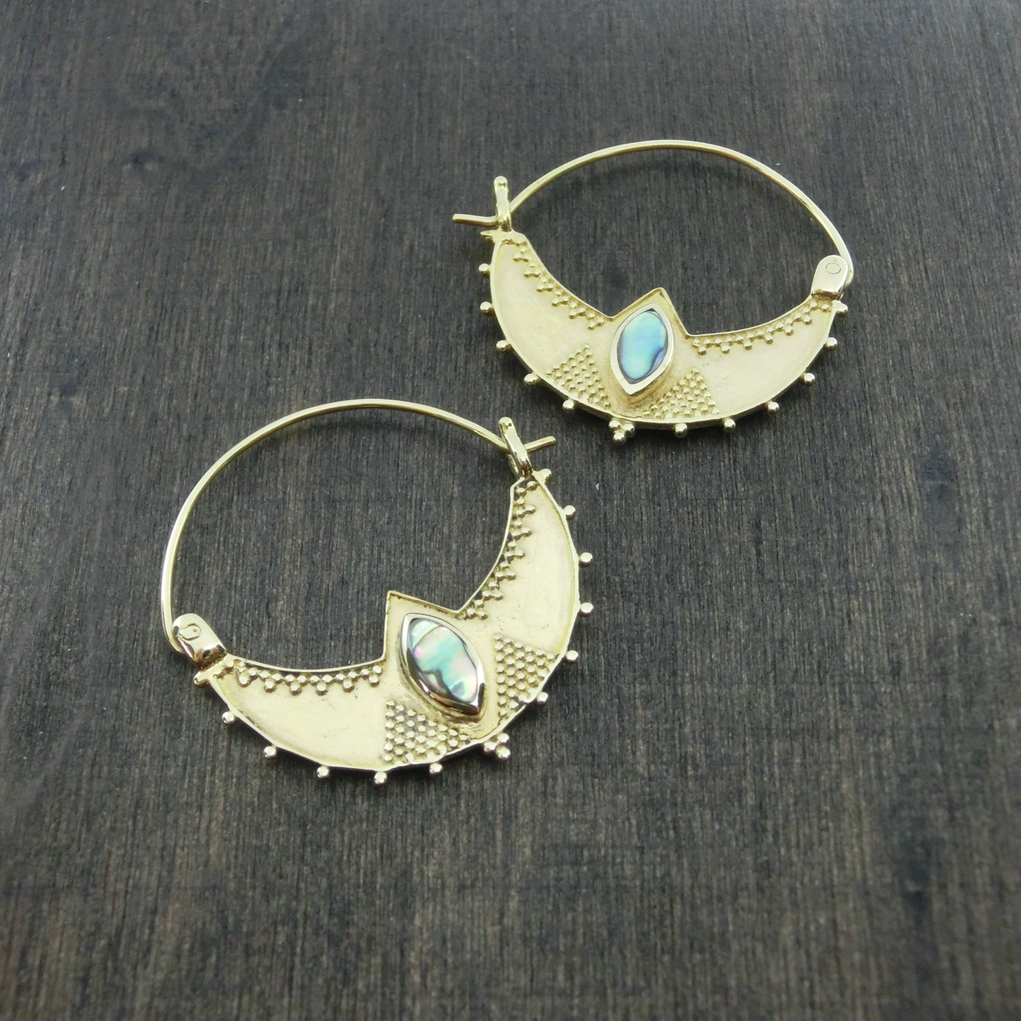 tribal brass earrings abalone shell