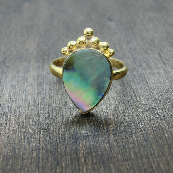 boho ring abalone shell