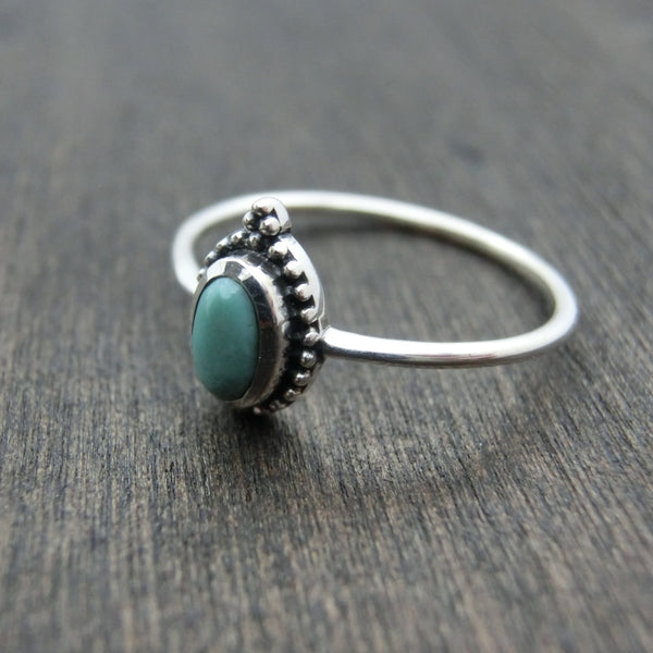 dainty turquoise silver ring right side