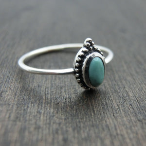 dainty turquoise silver ring