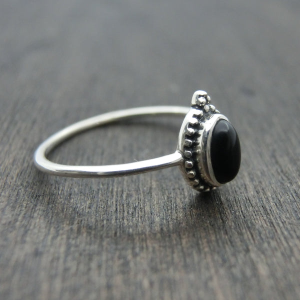 dainty black onyx ring left side