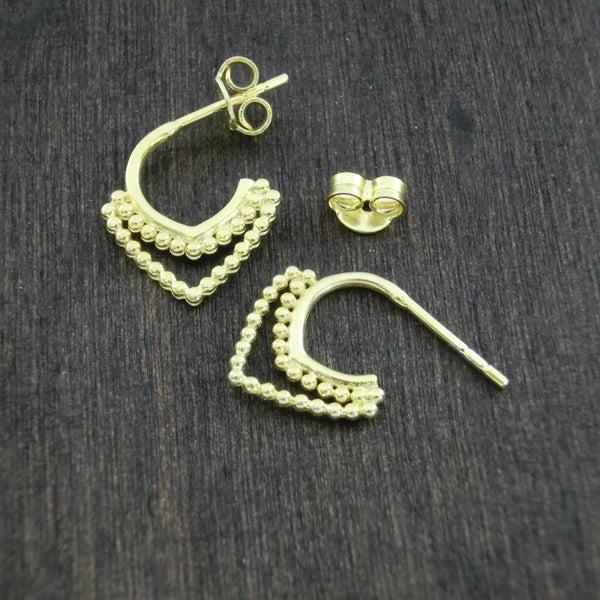 gold stud hoop earrings