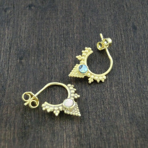 small brass hoop earrings abalone shell