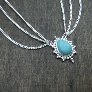 turquoise silver head chain