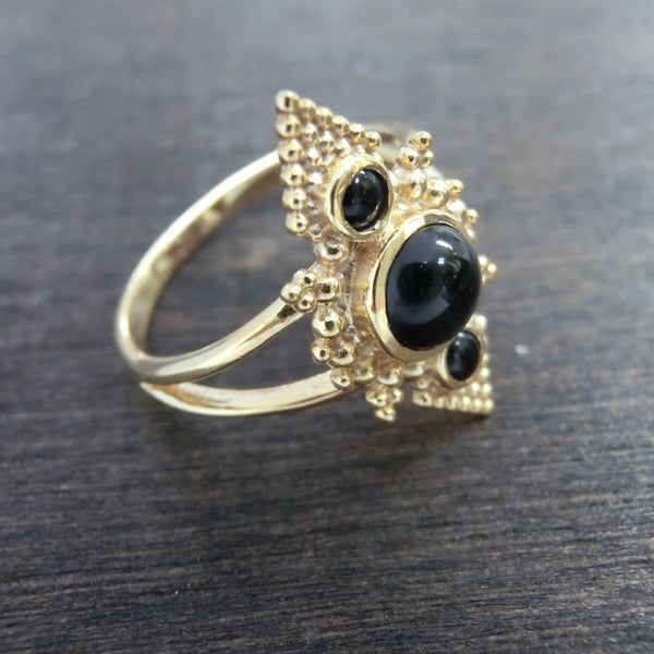 Pyramid Ring with Black Onyx