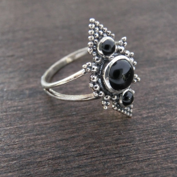 Black Onyx Ring⎜PYRAMID RING