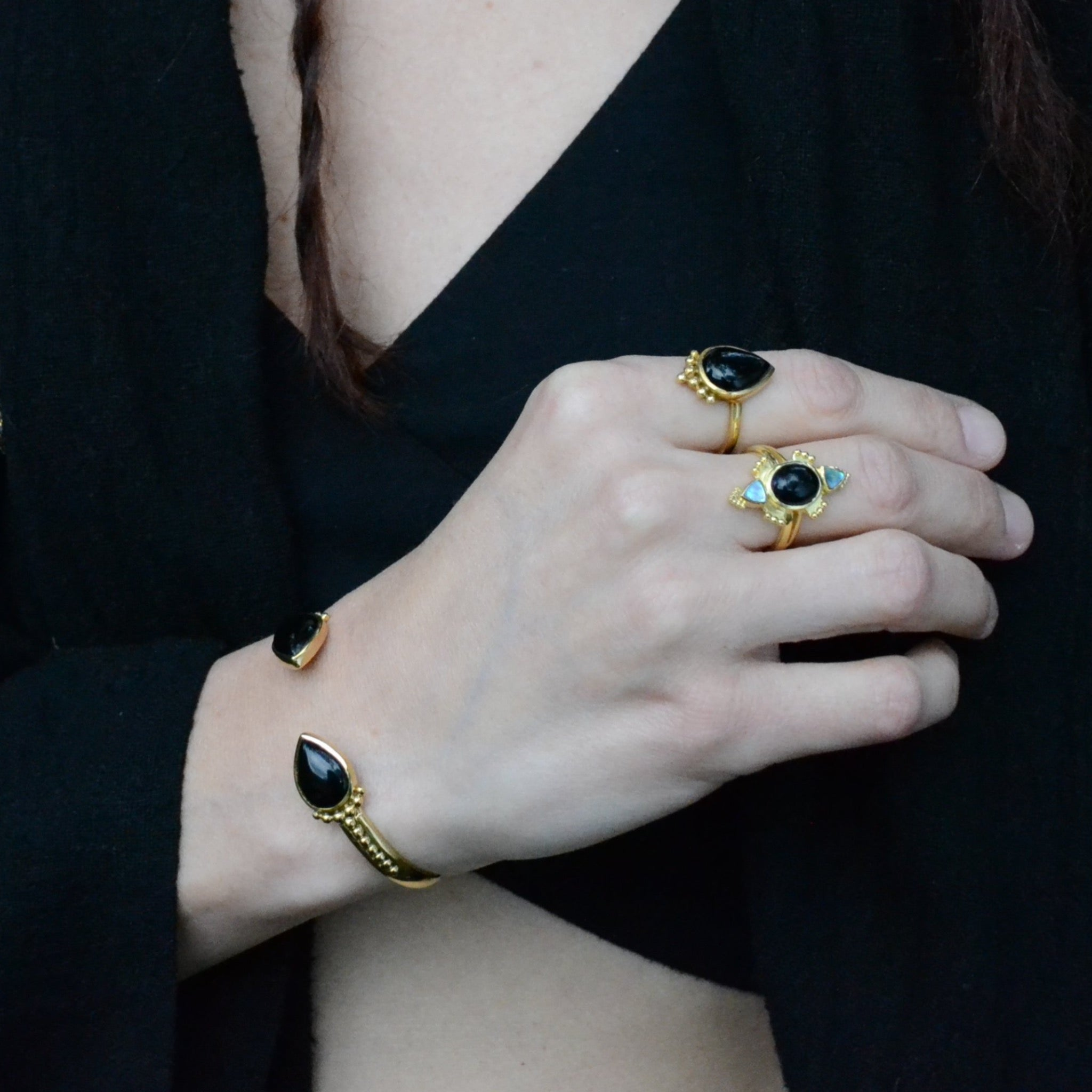 black and brass bracelet