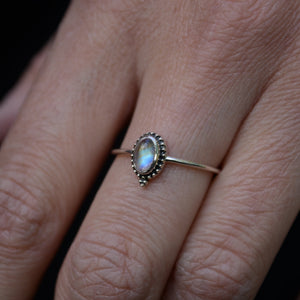 dainty moonstone silver ring